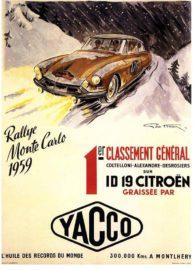 Citroën ID 19 vainqueur du Rallye de Monte Carlo 1959 - Affiche Yacco