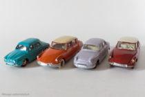 Quatre modèles Dinky Toys vainqueurs du Rallye de Monte Carlo