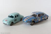 Transformation sur base Dinky Toys, Renault Dauphine 1ère du Monte Carlo 1958 et Citroen DS 23 4ème du rallye du Maroc 1975