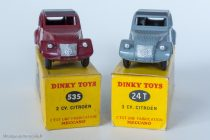 Citroën 2 CV A - Dinky Toys 24 T & 535 - trois feux arrières : variante 4 et 5 - Deux types de boite
