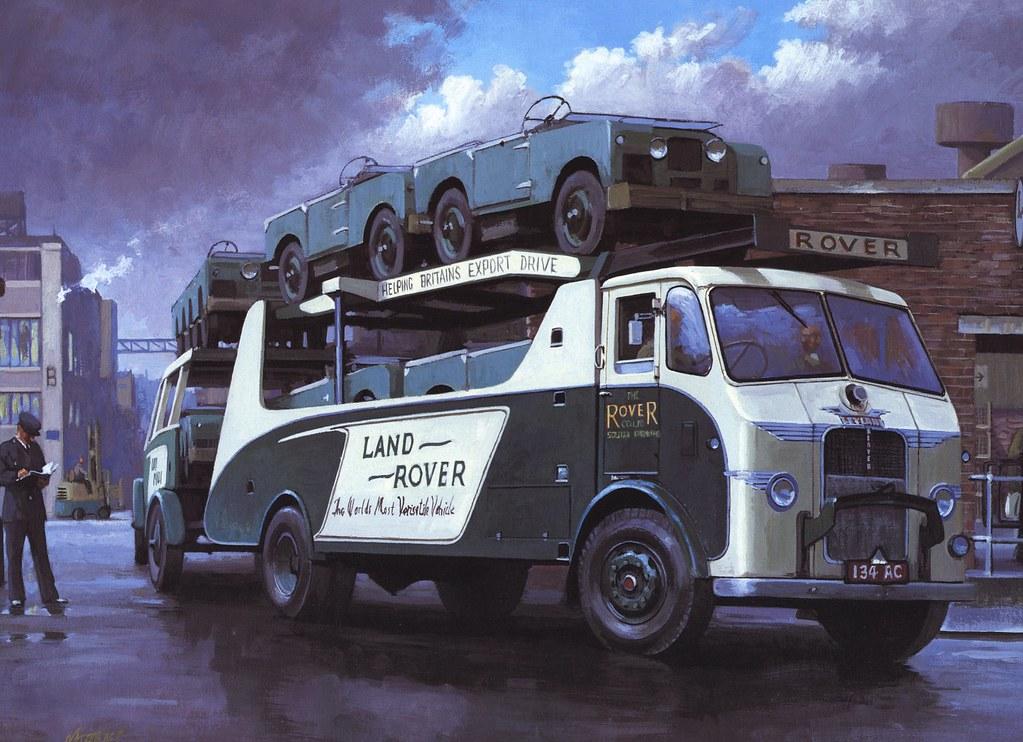 Transporteur Land Rover - Oeuvre peinte réalisée par le peintre Mike Jeffries.