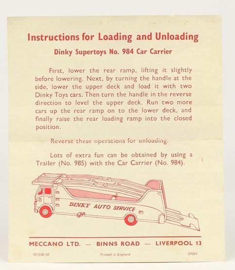 Dinky Toys réf. 984 - Notice pour Car Carrier