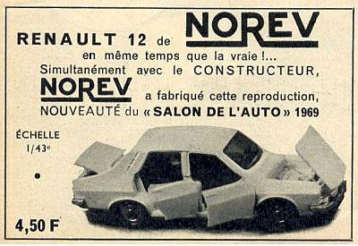 Publicité Norev pour la Renault 12