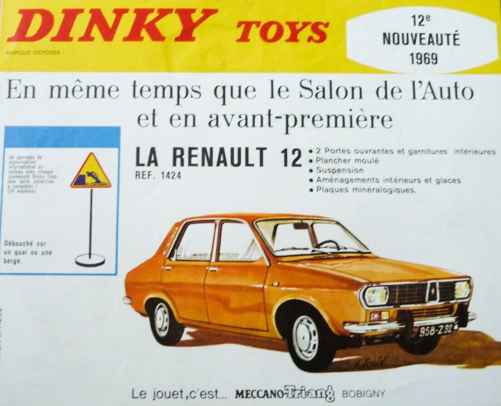 Affichette Dinky Toys annonçant la sortie de la réf. 1424 - Renault 12