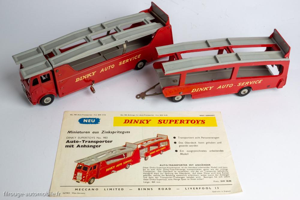 Dinky Toys réf. 984 et 985 - Car Carrier et Trailer for Car Carrier - Affichette publicitaire en allemand