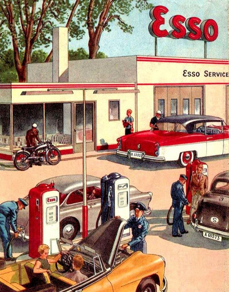 Station-service Esso - publicité années 1960