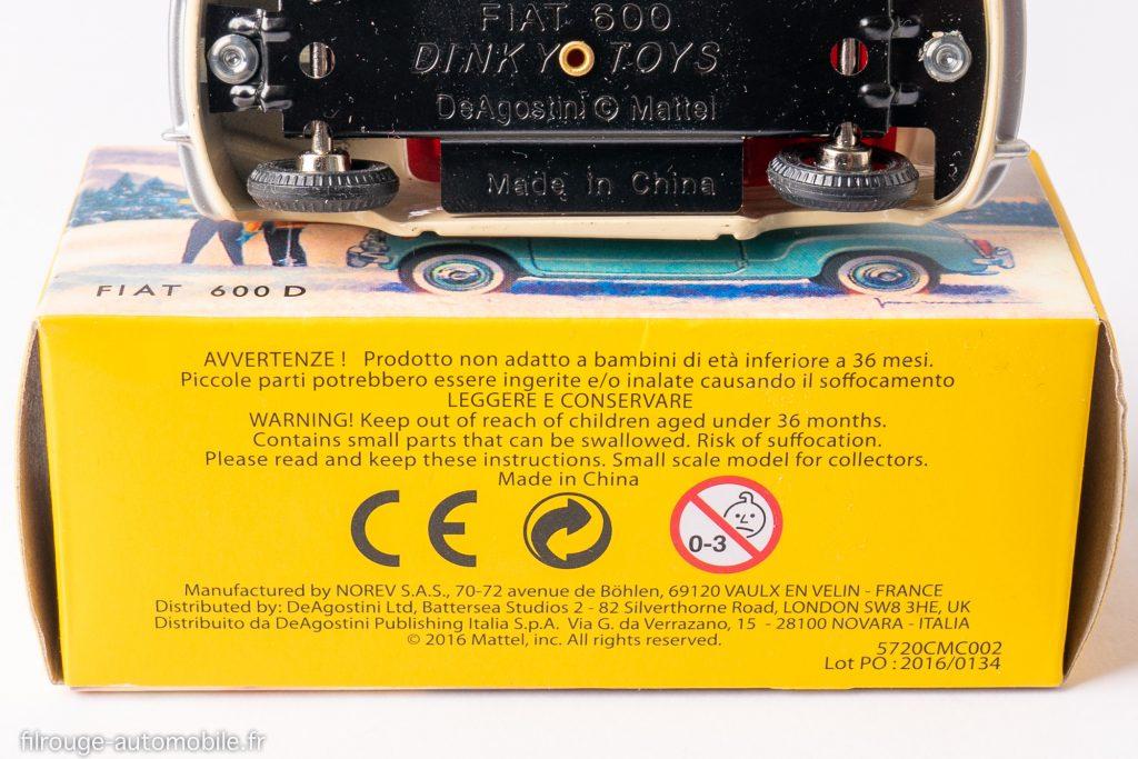 Dinky Toys De Agostini - marquage modèle et boite