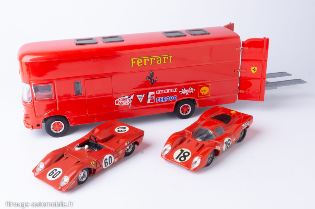 Transporteur Fiat OM Rolfo de la Scuderia Ferrari aux 24 Heures des Mans 1969 avec Ferrari 312 P / Old Car - Dinky Toys - Solido