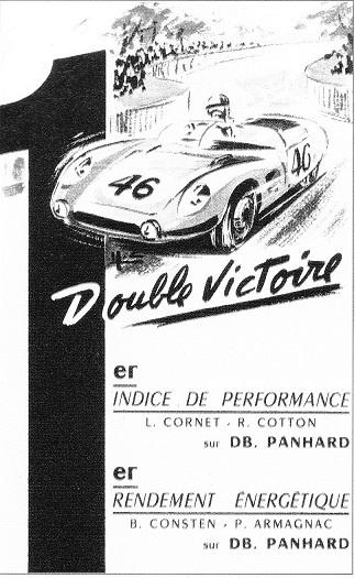 Publicité D.B Panhard après les 24 Heures du Mans 1959