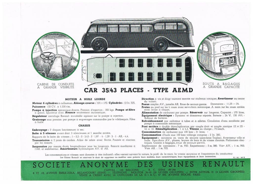 Car Renault AEMD - Catalogue 1937