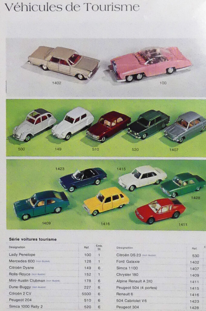 Extrait catalogue général Meccano 1975 - Page Dinky Toys avec le prototype Simca 1000 Rallye 2